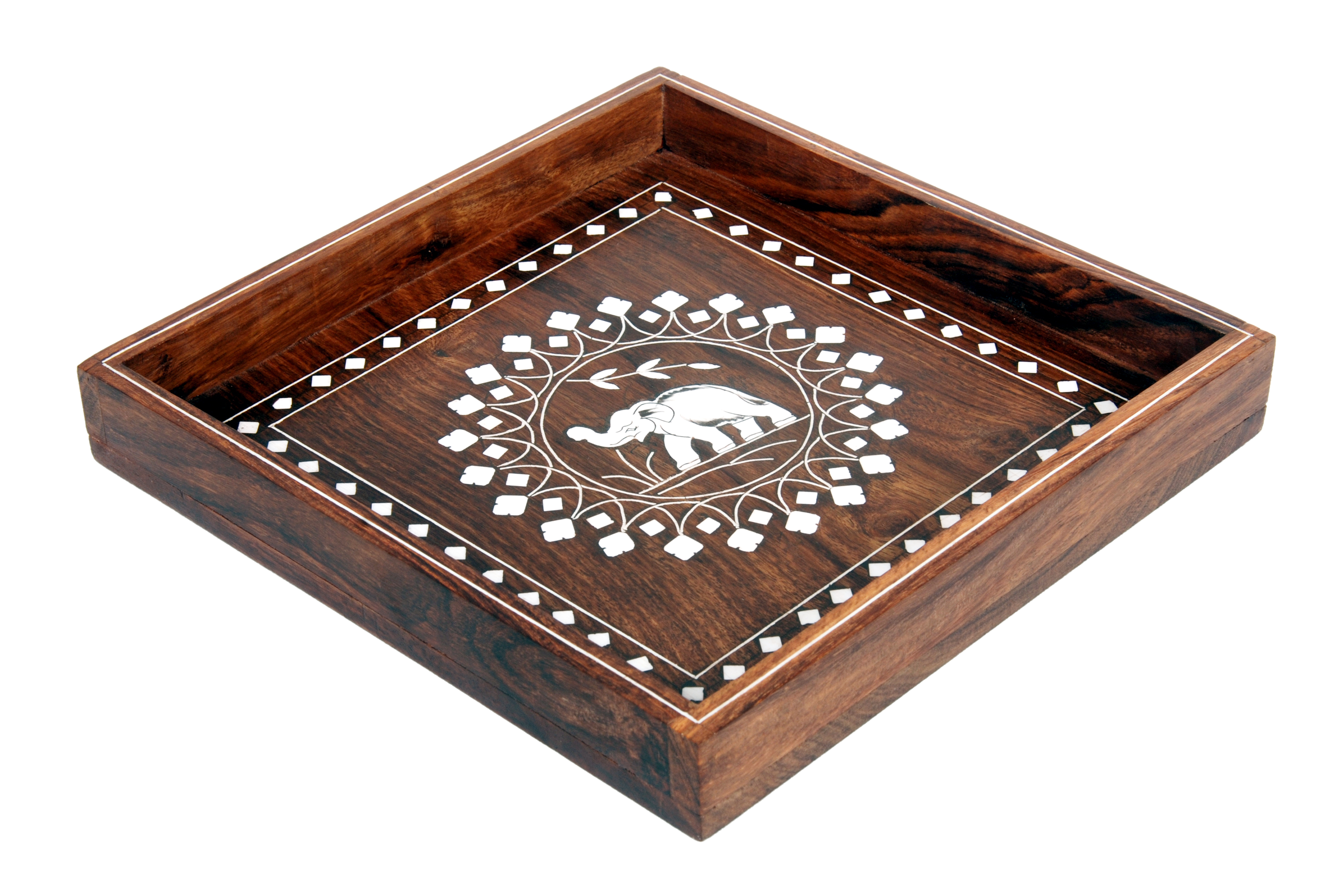 wooden inlay serving tray.
