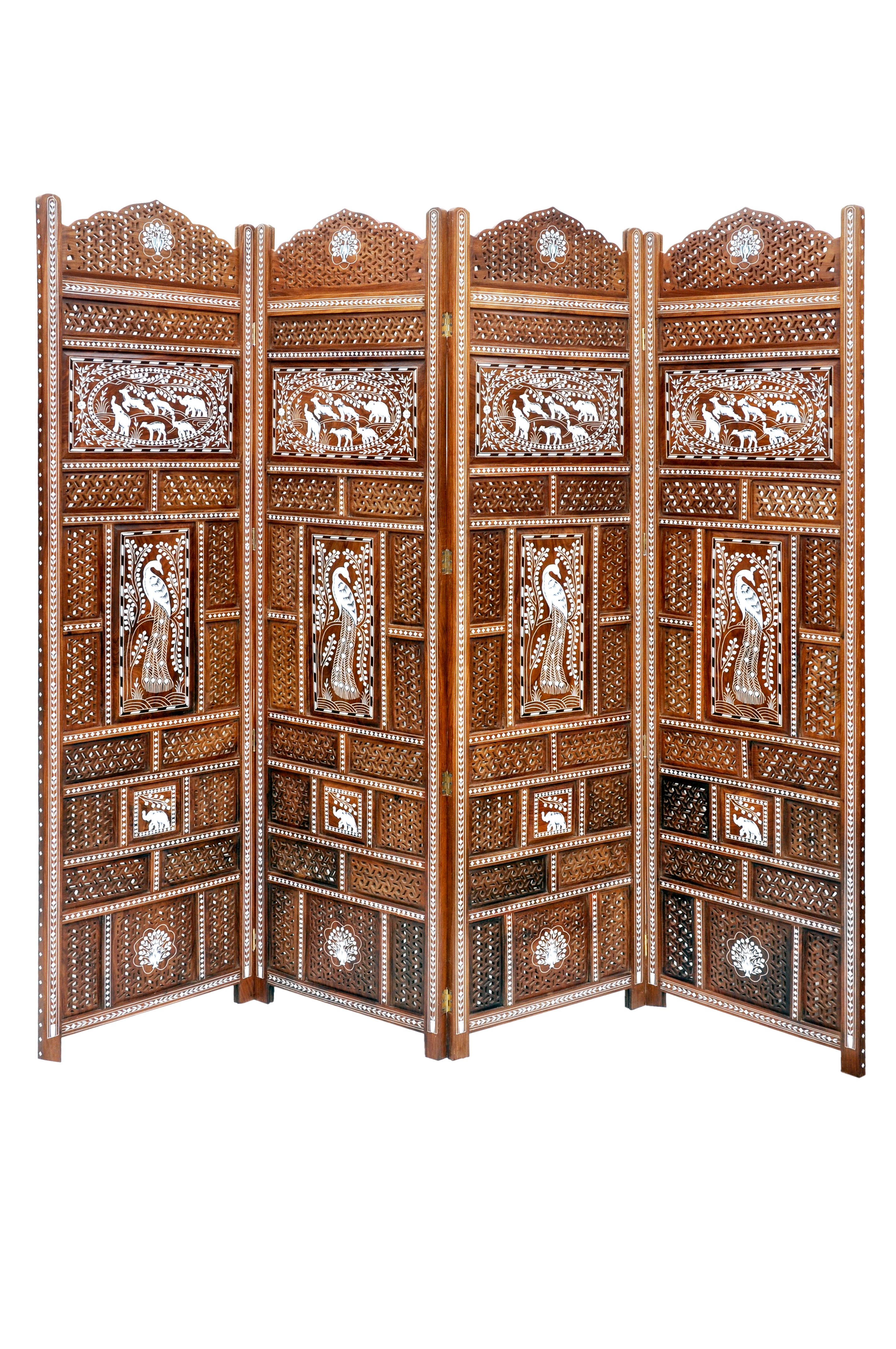 wooden room- divider with fine inlay and jalli