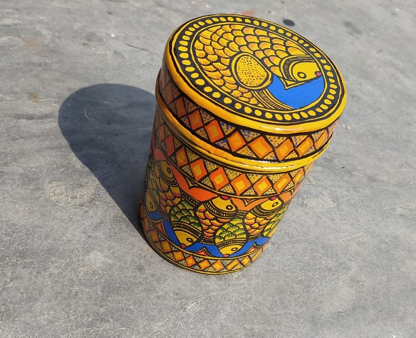 All Purpose Storage Container with Madhubani Painting allover