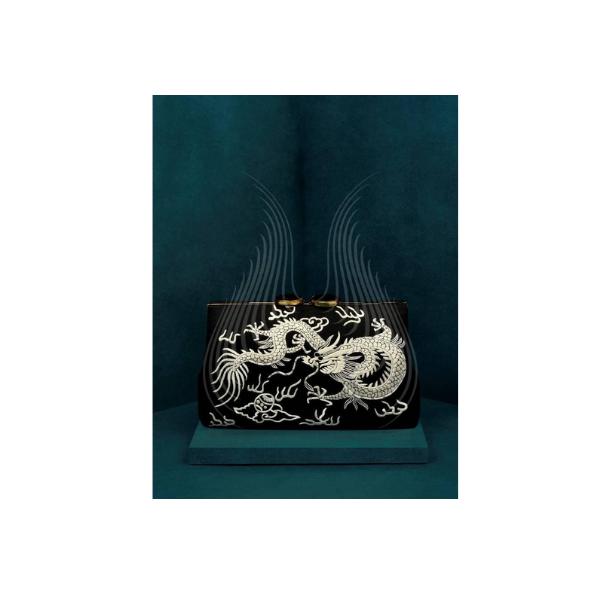 BLACK ALLURE DRAGON EMBROIDERY GARA(G11)