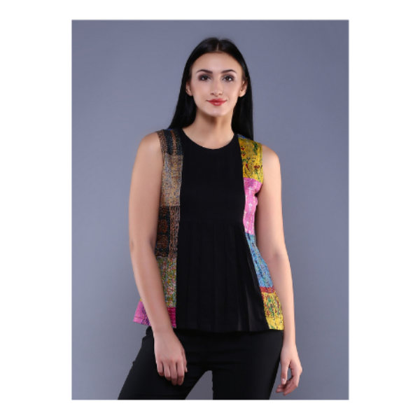 BLACK KANTHA PATCH PLEATED TOP IN SILK COTTON