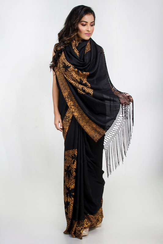 Batik Saree with handmade fringes on pallu