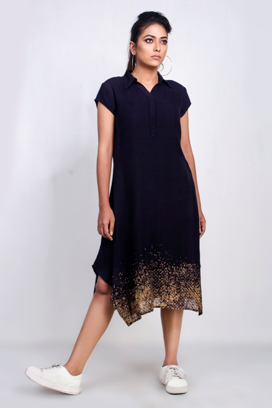 Batik mid-length collared dress
