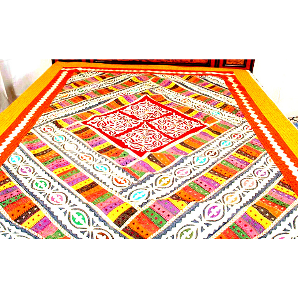 Applique Patch Work Bed Cover