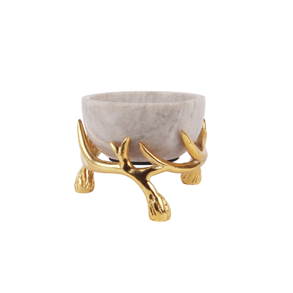 Beige Marble 5 inch bowl with Gold Antler Stand