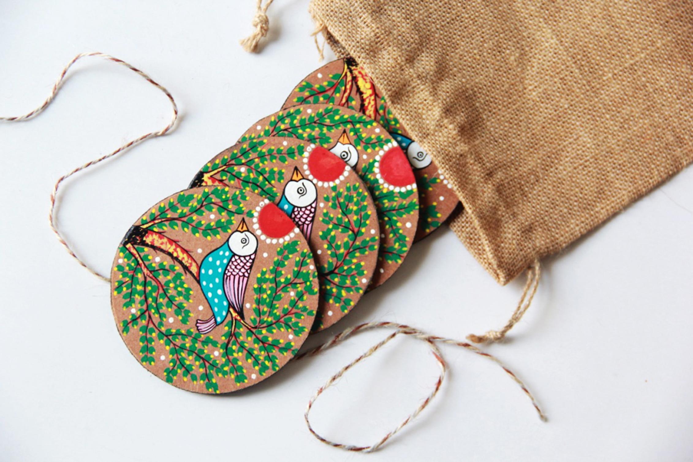 Bird o Paradise: Pattachitra Handmade Coaster (Set of 4)