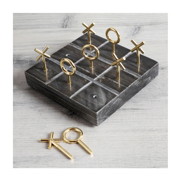 Black Marble Tic Tac Toe with brass