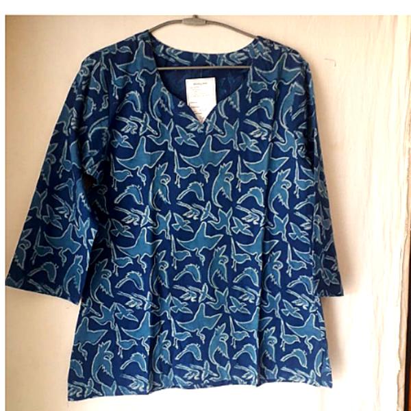 Blue Cotton Dabu Printed Top
