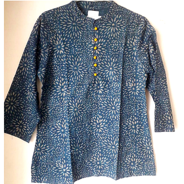 Blue Cotton chinese collar Dabu Printed Top