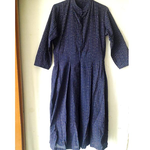 Blue Dabu Print Cotton dress