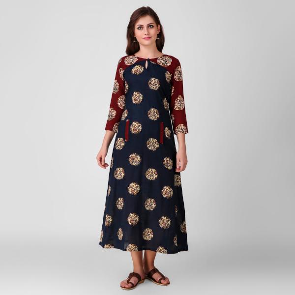 Blue Kalamkari Cotton Dress