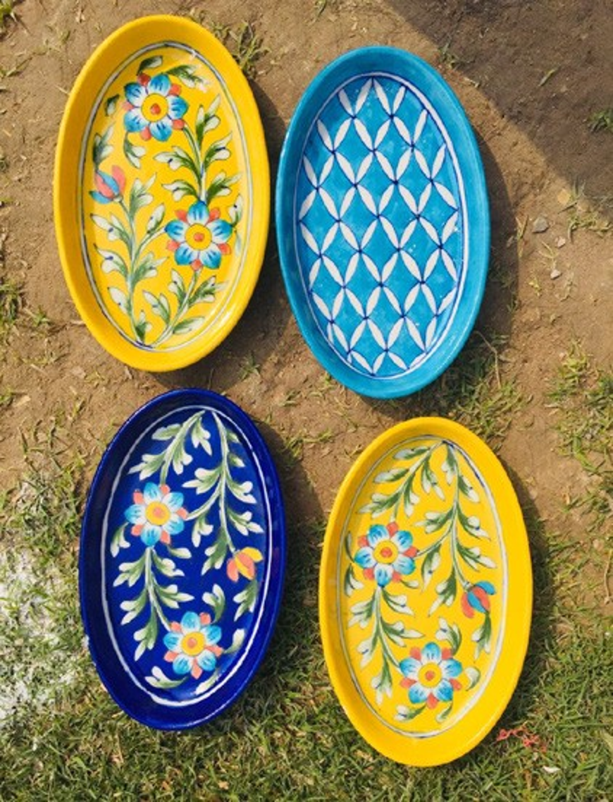 Blue Pottery Butter Plates