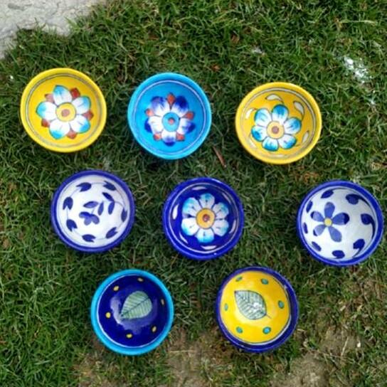 Blue Pottery Ceramic Diya- set of 5