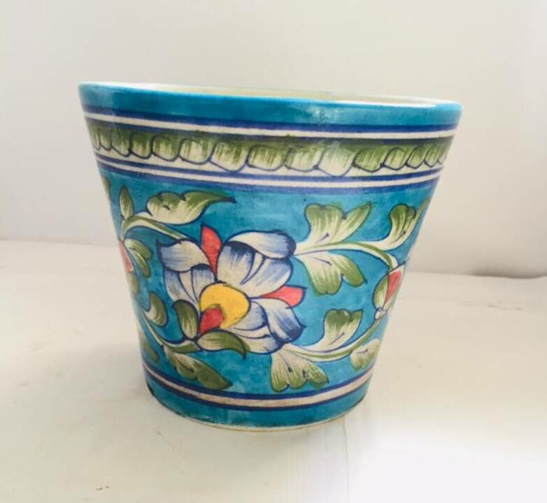 Blue Pottery Ceramic Planter