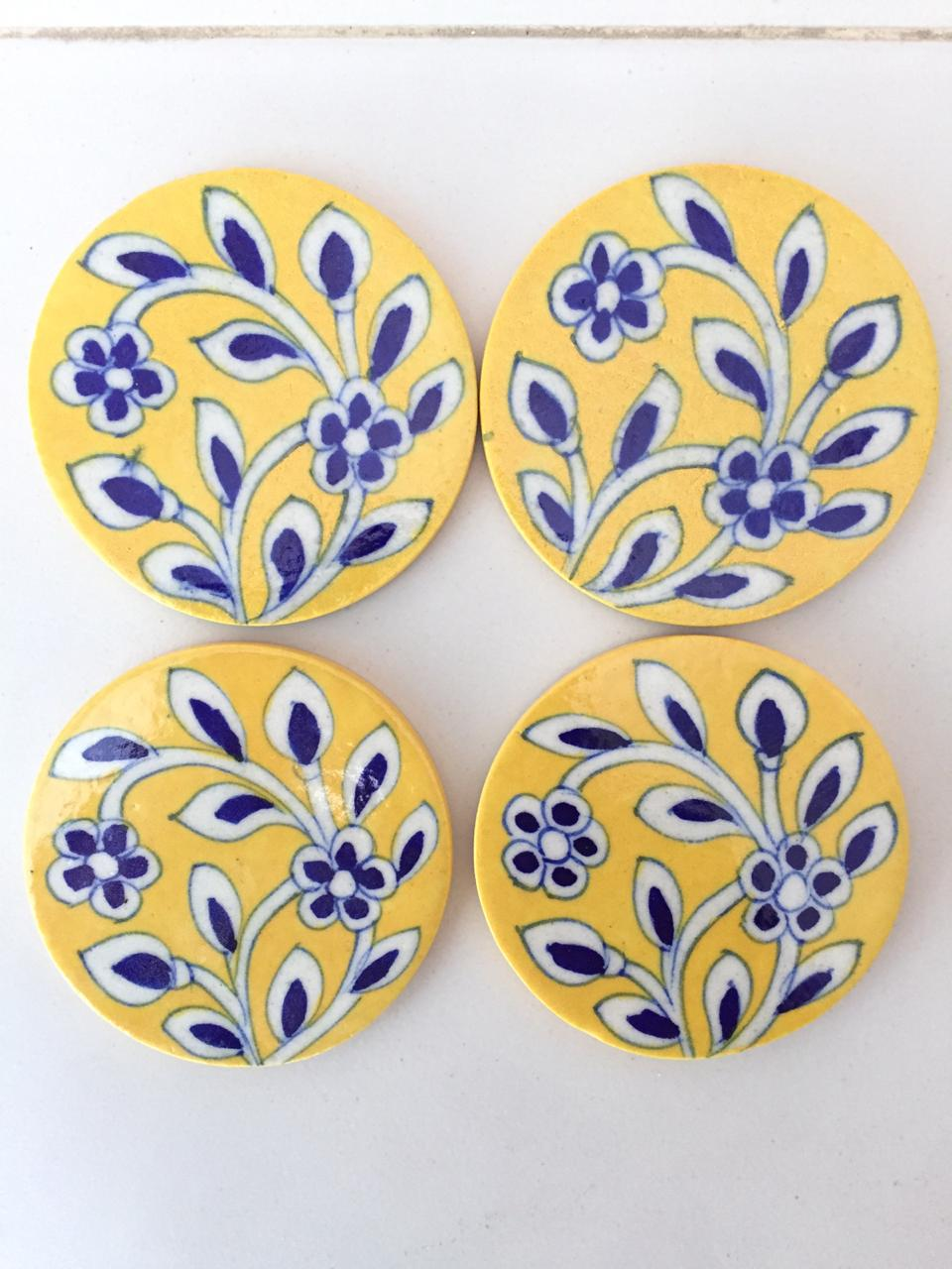 Blue Pottery Coasters- Set of 4