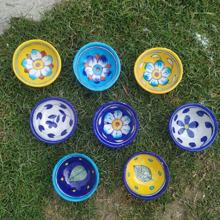 Blue Pottery Decorative Diya- Set of 5