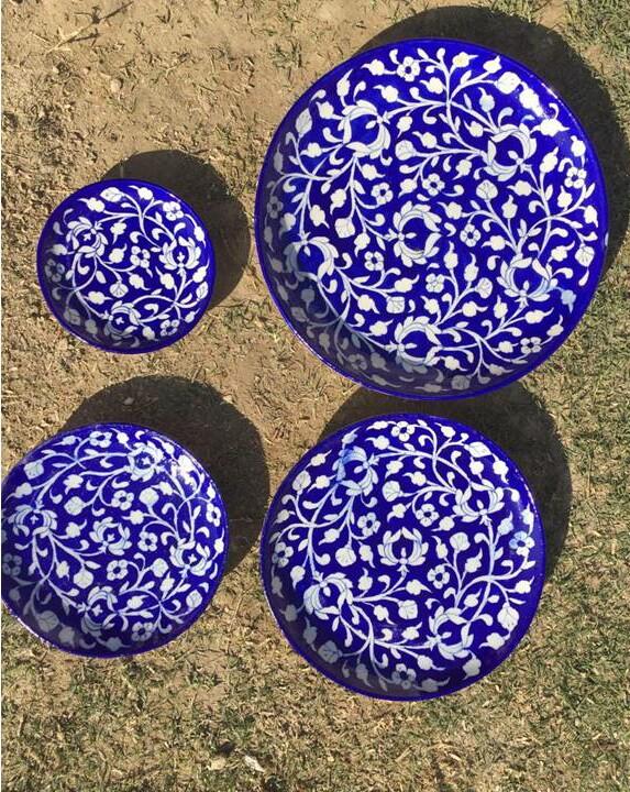 Blue Pottery Plates (set of 4)