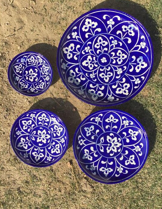 Blue Pottery Plates (set of 4)