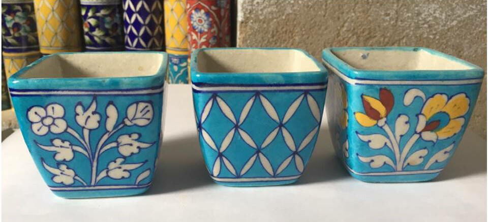 Blue Pottery Square Planters
