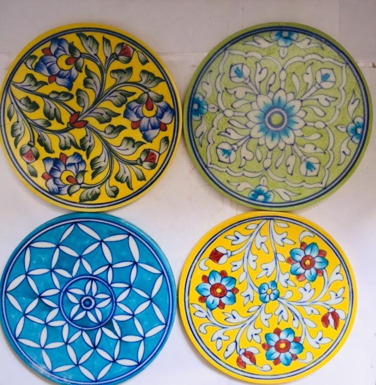 Blue Pottery hot Plates- set of 2