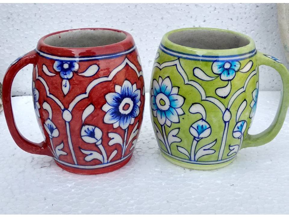 Blue pottery ceramic mugs