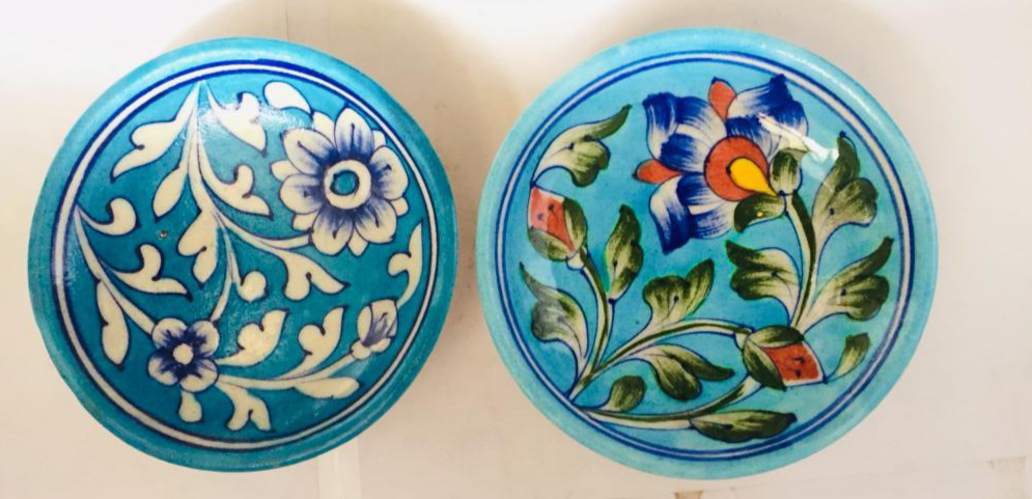 Blue pottery serving and mixing bowls- set of 2