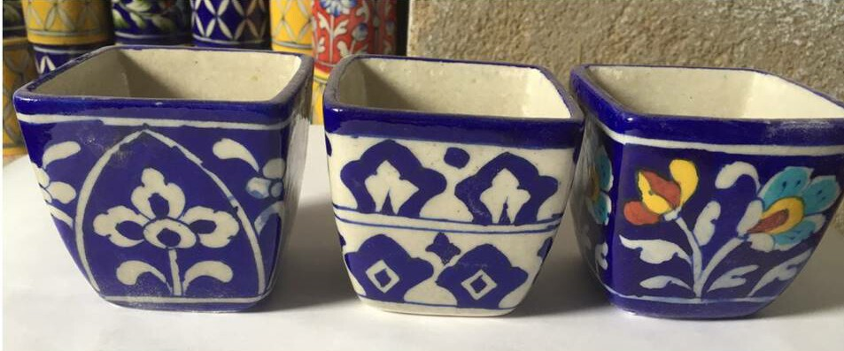 Blue pottery square planters