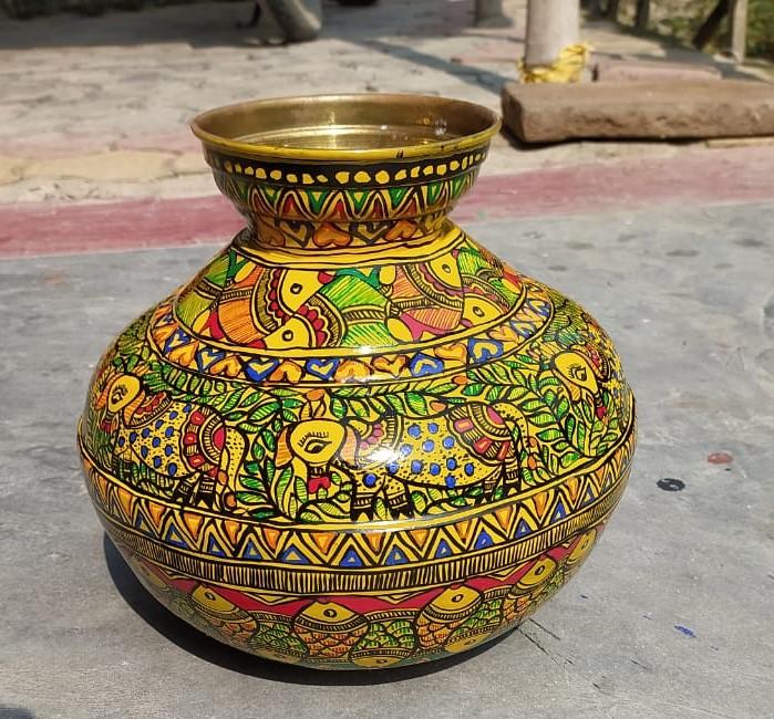 Brass Water Pot with Madhubani art allover