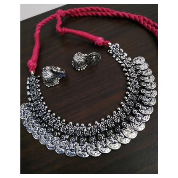 Charming Temple Oxidised Necklace Set