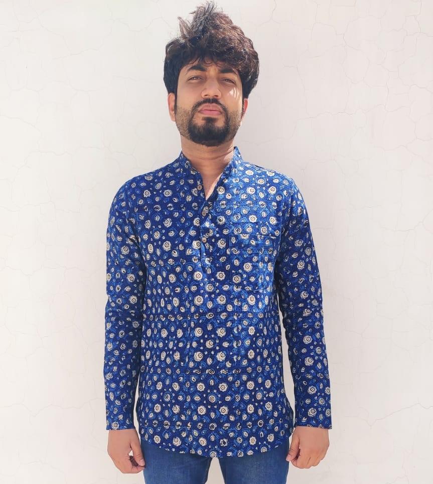 Dabu Cotton Handwoven Indigo Short Kurta
