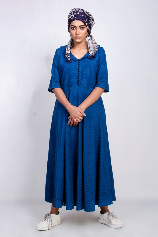 Cotton Long Dress with silk batik scarf