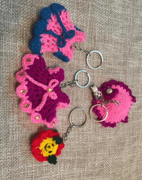 Crochet Keychain ( COMBO OFFER SET OF 04 PC )