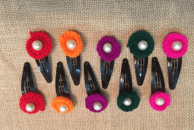 Crochet handmade Hair clips ( COMBO OFFER - 5 SET PAIR )