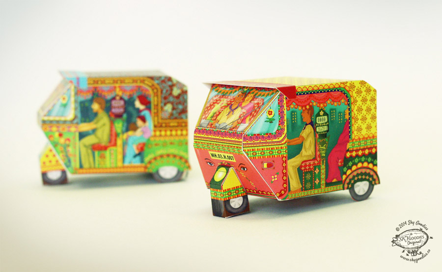 DIY Bombay Auto Rickshaw Box: Pink design