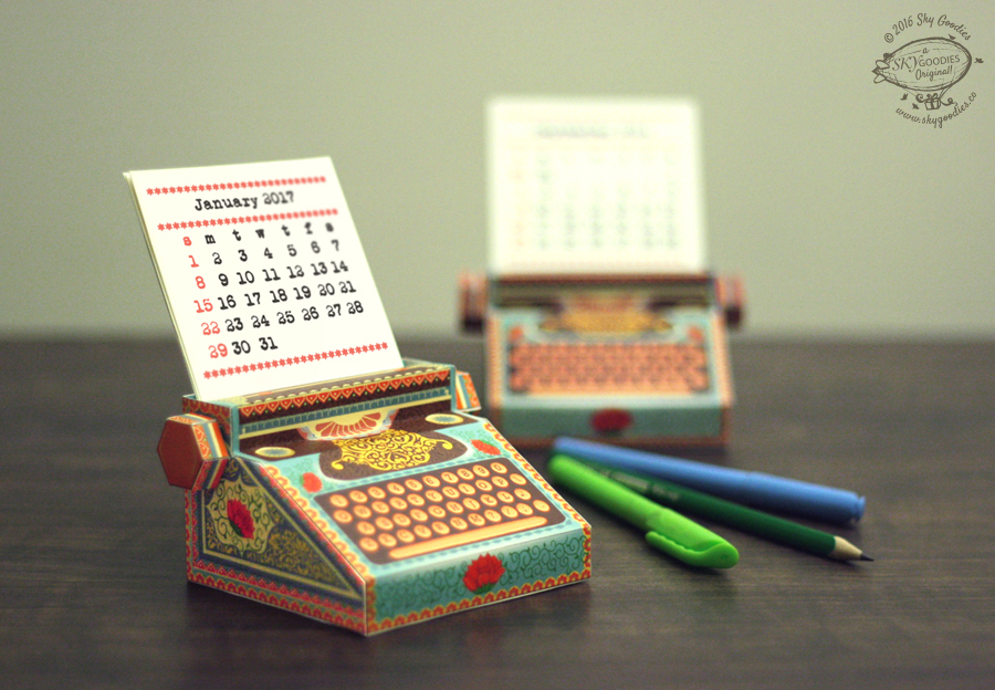 DIY Colourful Typewriter Desk Calendar 2020 & 2021