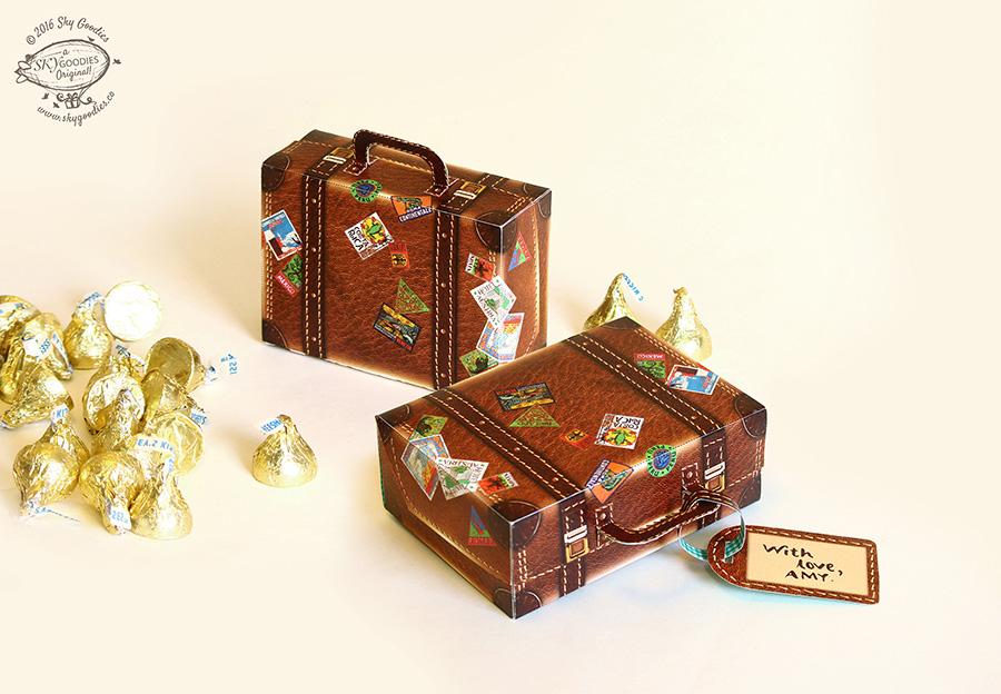 DIY Mini Travel Suitcase Box: Brown Leather Design