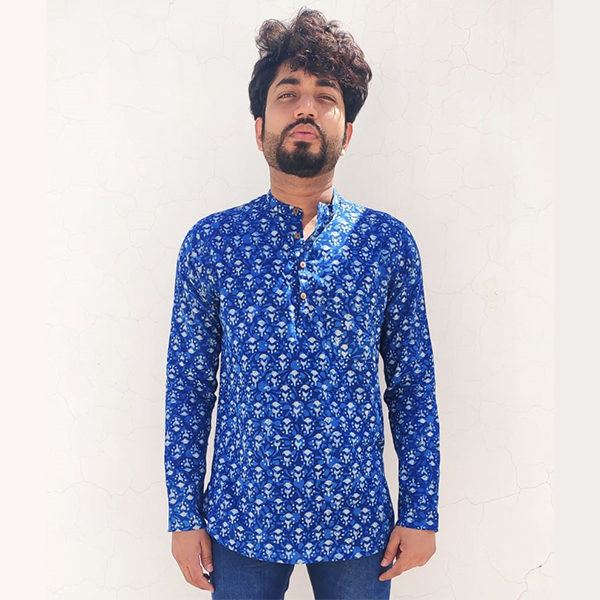 Dabu Cotton Handwoven Indigo Short Kurta