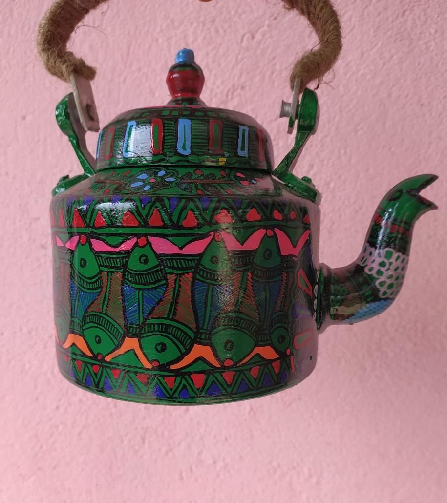 Decorative Tea Pot with Madhubani Artwork allover