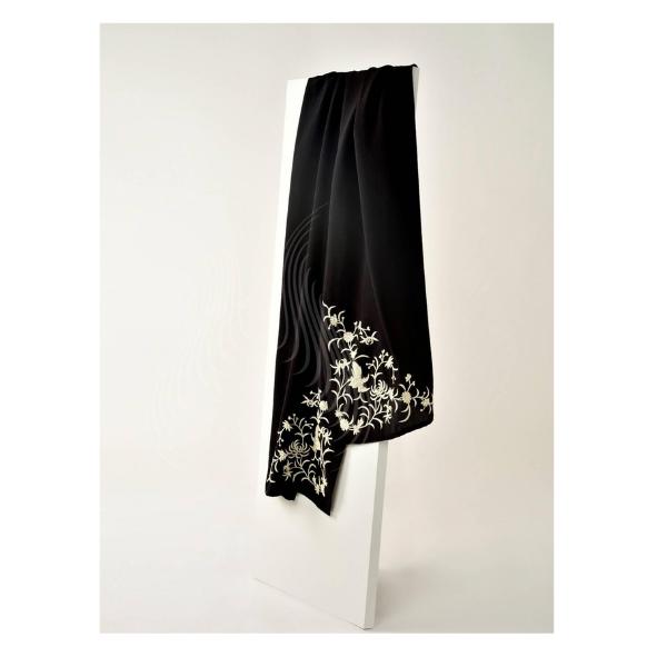 Gara work chrysanthemum and bird motif on black(ST2)