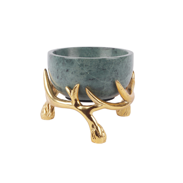Green Marble 5 inch bowl with Gold Antler Stand