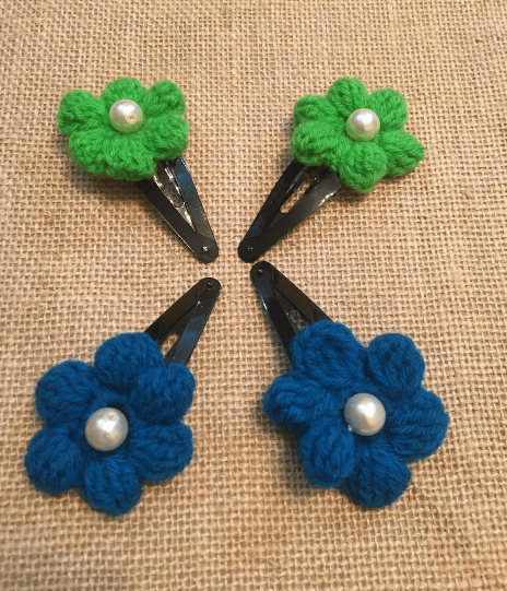Green and Blue Crochet Handmade Hair clips Set of 4