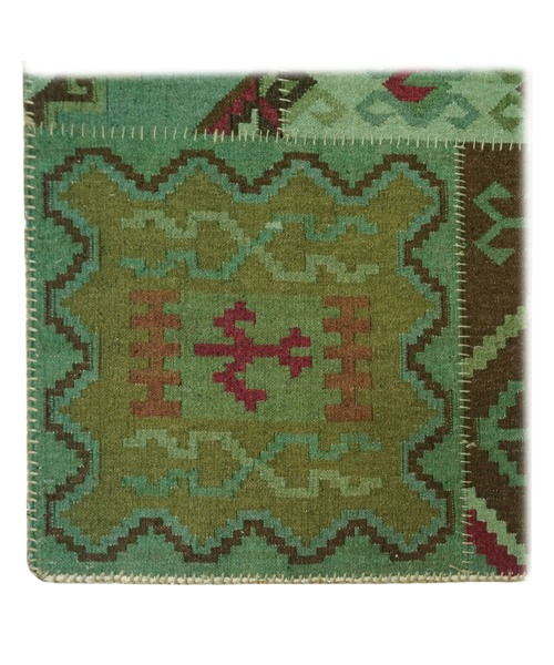 HAND WOVEN WOOLEN OVERDYED PATCH KILIM