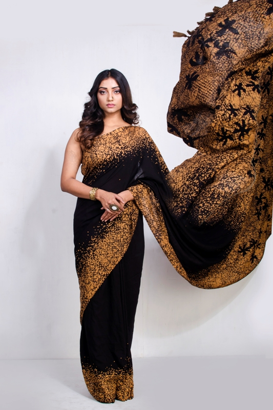 Hand Batik Silk Saree with handmade fringes on pallu
