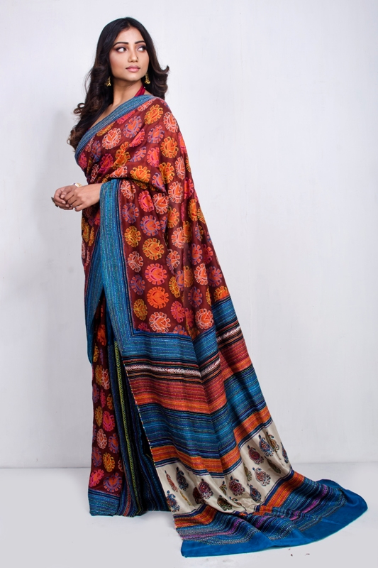Hand Block printed and Hand Kantha embroidered silk saree