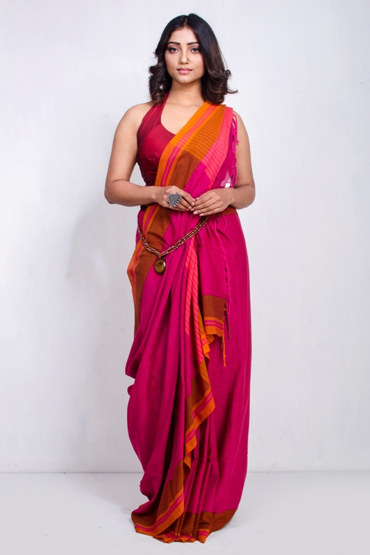 Hand Woven Cotton Saree with Blouse Piece