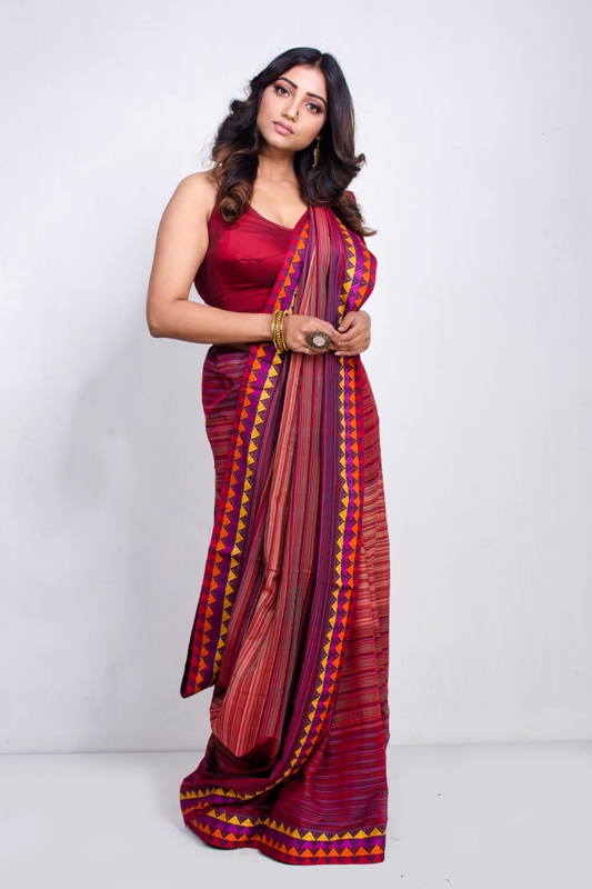 Hand Woven Cotton Silk Saree With Blouse Piece