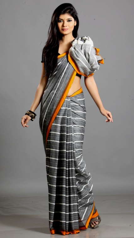 Hand woven cotton saree