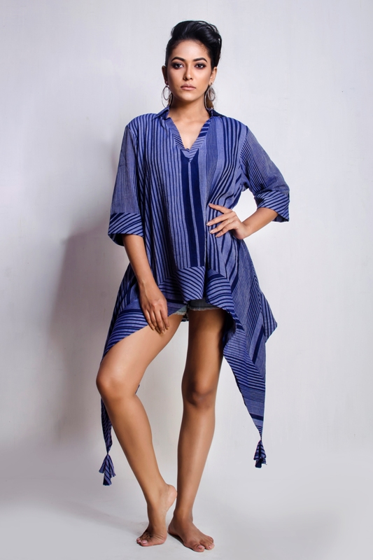 Hand woven short asymmetric dress