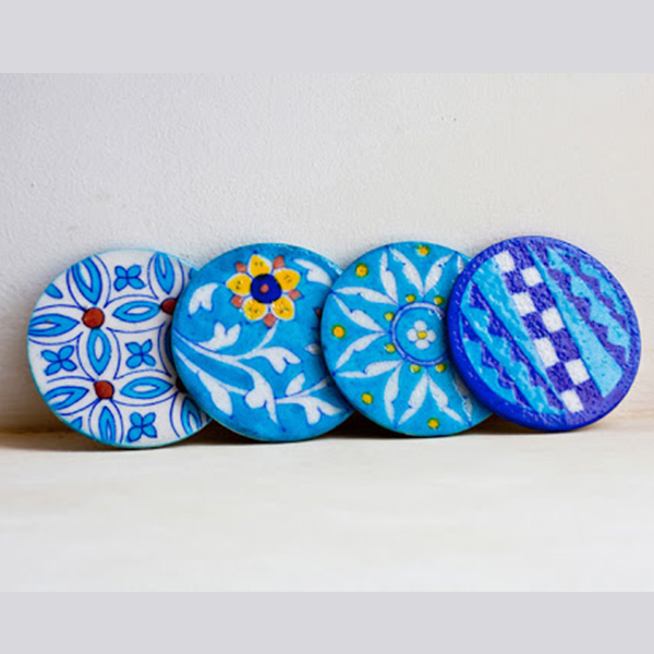 Handcrafted Blue Pottery Coasters- Set Of 4