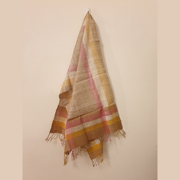 Handcrafted turmeric with tea leaves Eri silk stole